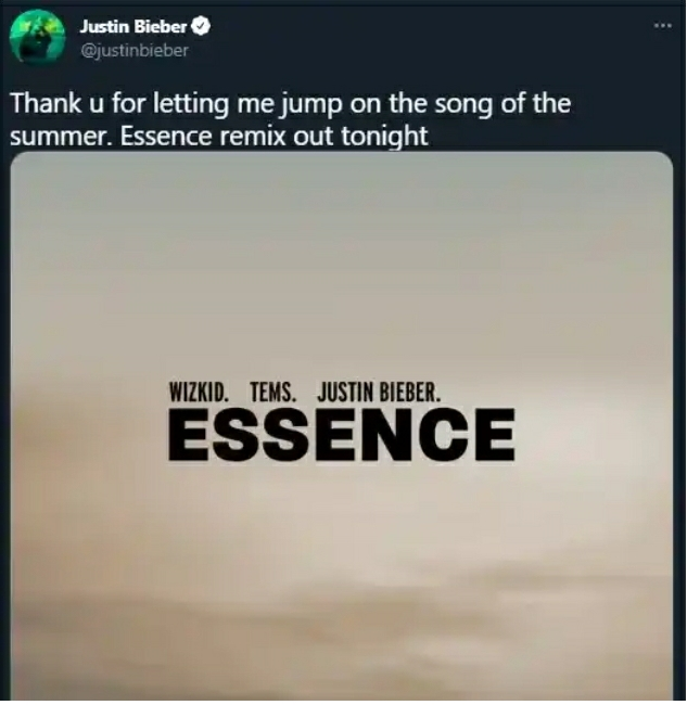 """Justin Bieber Expresses Gratitude To Wizkid For Recruiting Him On His """"Essence"""" Song"""