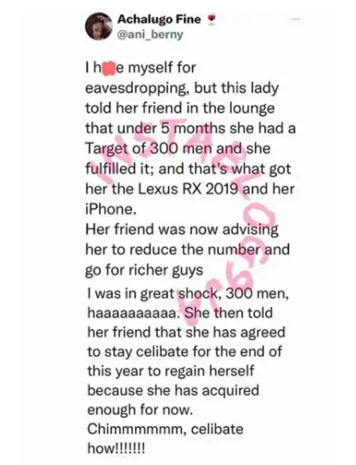 Lady Allegedly Sleeps With 300 Men Within 5 Months To Acquire A Car And An Iphone