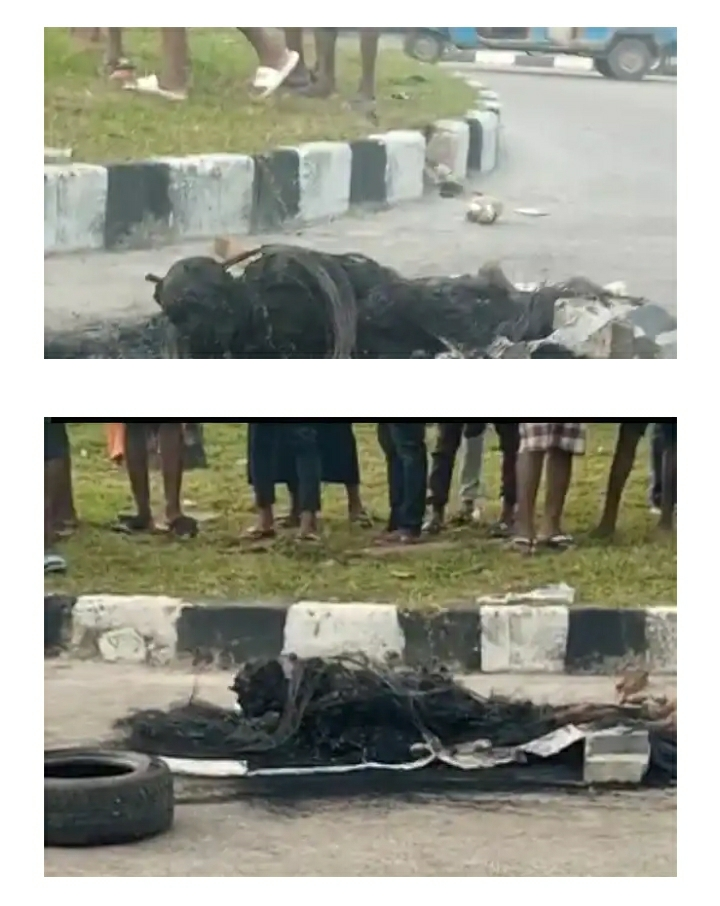 Suspected Burglar Burnt To Death By Angry Mob In Delta (Graphic Photos)