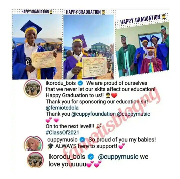 Ikorodu Bois Show Gratitude To Femi Otedola And DJ Cuppy For Sponsoring Them As They Graduate