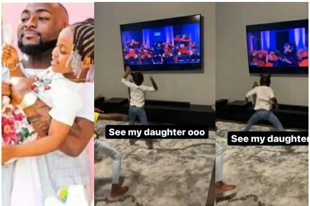 See Davido's Epic Reaction After Seeing His Daughter Hailey Twerk to Cardi B's Song (Video)