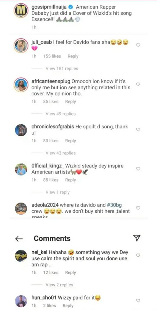 Rapper Dababy Makes A Cover Of Wizkid's Essence – Fans Aren't Liking It