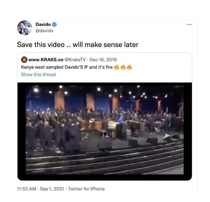 "Davido Responds To Kanye West Sampling His ""IF"" Song"