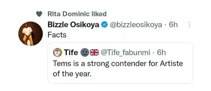 Rita Dominic Agrees With The Fact That Tems Is A Strong Contender For Artiste Of The Year