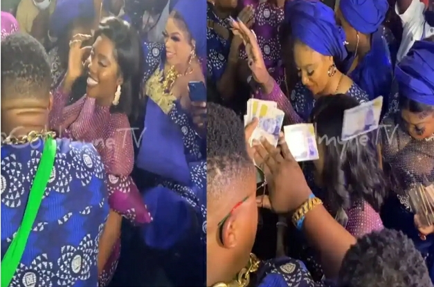 Bobrisky and Cubana Chief Priest Spray Cash On Tiwa Savage At Her Father's Funeral Reception –[VIDEO]