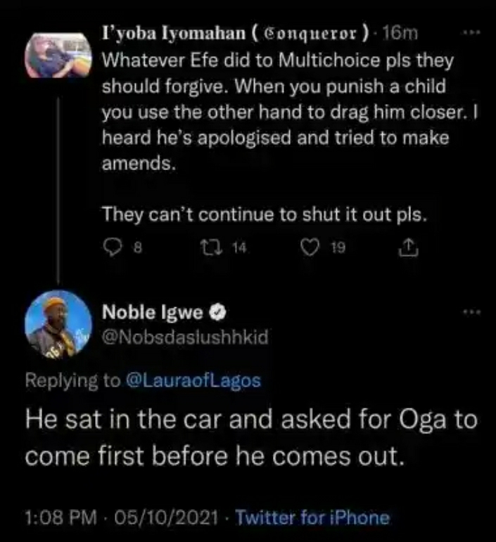 Noble Igwe reveals why BBNaija organizers allegedly blacklisted Efe after winning show
