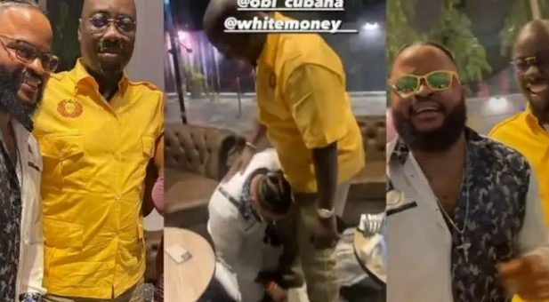 Adorable Moment BBNaija Winner, Whitemoney Kneels To Greet Billionaire, Obi Cubana After Meeting For The First Time [VIDEO]