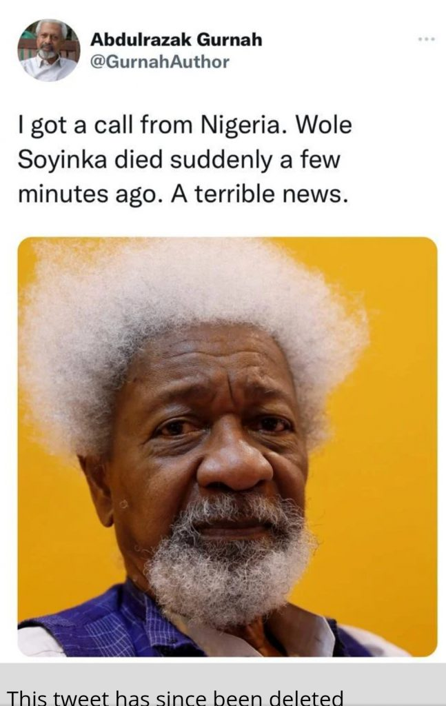 Wole Soyinka dead news
