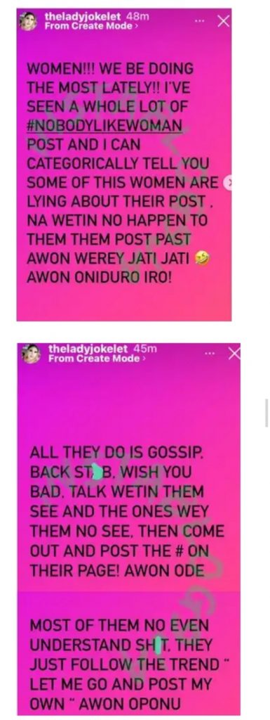 Some Women Are Lying With Their Posts'- Actress Joke Jigan Reacts To The 'Nobody-like-Woman' Challenge