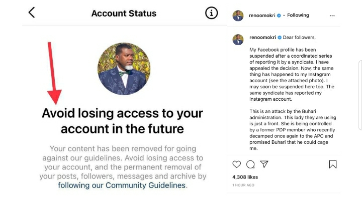 Reno Omokri Exposes The Buhari Administration For Being Behind His Facebook Account Suspension