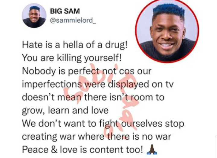 """""""We Don't Want To Fight Ourselves, Stop Creating War"""" – BBNaija's Sammie Lashes Out"""